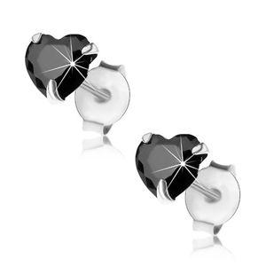 Kolczyki ze srebra 925, sztyfty, czarna wyszlifowana cyrkonia - serduszko, 5 mm