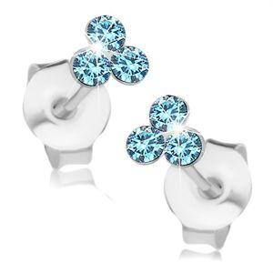 Kolczyki ze srebra 925, trzy jasnoniebieskie kryształki Swarovski