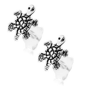 Kolczyki ze srebra 925, wygrawerowany żółw, patynowana powierzchnia