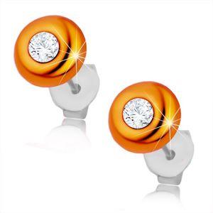 Kolczyki ze srebra 925, wypukły pomarańczowy krążek, okrągła bezbarwna cyrkonia