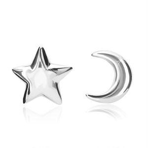 Kolczyki ze srebra próby 925 - motyw księżyca i gwiazdki, zapinane na sztyft