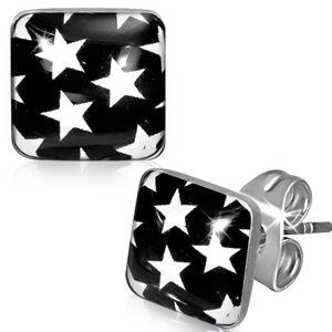 Kolczyki ze stali - czarne kwadraty z białymi gwiazdami
