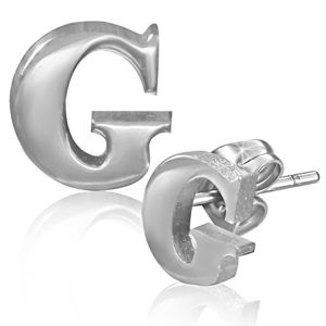 Kolczyki ze stali - gładka litera G, wkręty
