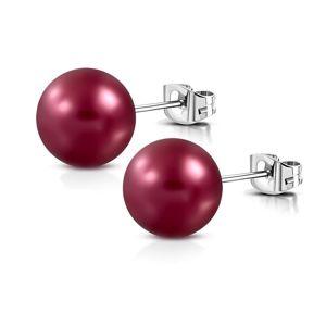 Kolczyki ze stali - matowa sztuczna perła w kolorze bordowym, zapięcie na sztyft