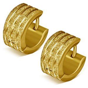 Kolczyki ze stali - złote piaskowane kółeczka, błyszczące nacięcia
