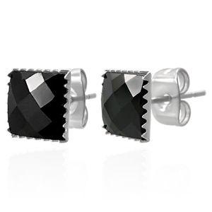 Kolczyki ze stali 316L - czarny oszlifowany cyrkoniowy kwadrat, 9 mm