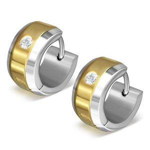 Kolczyki ze stali 316L w złoto-srebrnej kombinacji kolorystycznej, przezroczysta cyrkonia