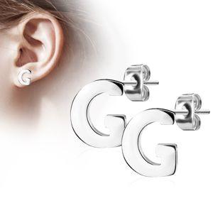 Kolczyki ze stali chirurgicznej - duża litera G, srebrny kolor