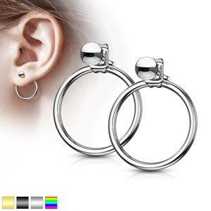 Kolczyki ze stali chirurgicznej - kuleczka z pierścieniem, zapięcie na sztyft - Kolor: Złoty