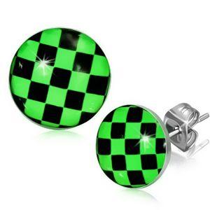 Kolczyki ze stali, zielono-czarna szachownica