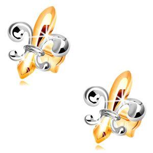 Kolczyki ze złota 14K - dwukolorowy symbol Fleur de Lis