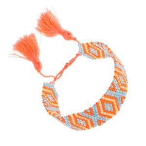 Koralikowa bransoletka, pomarańczowy, niebieski, żółty kolor, wzór Indian, romby