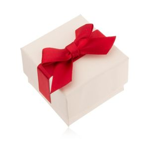 Kremowe upominkowe pudełeczko na pierścionek, wisiorek, kolczyki, czerwona kokarda