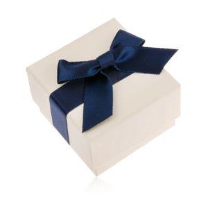 Kremowe upominkowe pudełeczko na pierścionek, wisiorek lub kolczyki, niebieska kokarda