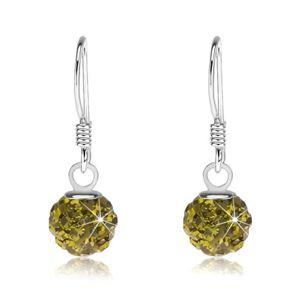 Kuleczkowe kolczyki ze srebra 925, kryształki Preciosa zielonego koloru, 6 mm