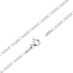 Łańcuszek w białym 14K złocie - jedno podłużne i trzy owalne ogniwa, 500 mm