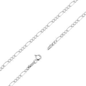 Łańcuszek w białym 9K złocie, trzy mniejsze i jedno większe podłużne ogniwo, 545 mm