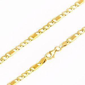 Łańcuszek w złocie - trzy ogniwa i owalna wstawka z kratką, 500 mm