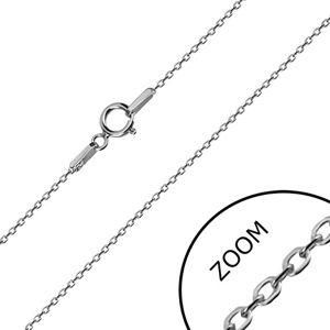 Łańcuszek z białego 14K złota - błyszczące owalne oczka, wzór Rolo, 450 mm