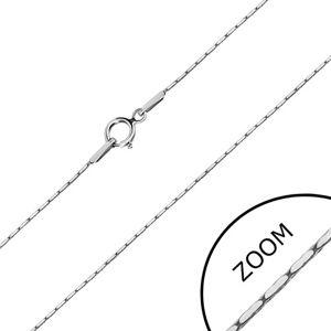 Łańcuszek z białego 14K złota - prostokątne ogniwa, kwadratowy łańcuszek, 500 mm