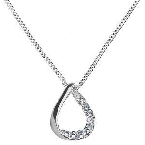 Łańcuszek z zawieszką ze srebra 925 - kształt łzy z cyrkoniami