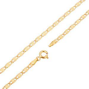 Łańcuszek z żółtego 14K złota - podłużne ogniwa ozdobione nacięciami, 445 mm