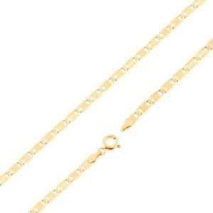 Łańcuszek z żółtego 14K złota - większe płaskie ogniwa, nacięcia, prostokąt, 450 mm