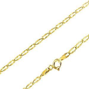 Łańcuszek z żółtego złota 14K - płaskie owalne ogniwa, promieniste rowki, 490 mm