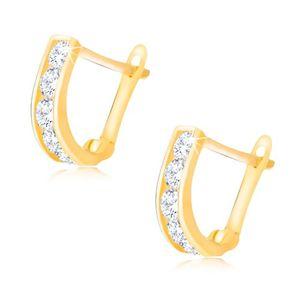 Lśniące złote kolczyki 585 - pionowy pas przezroczystych okrągłych cyrkonii