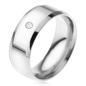 Lśniący stalowy pierścionek, ścięte krawędzie, przezroczysty okrągły kamyczek - Rozmiar : 56