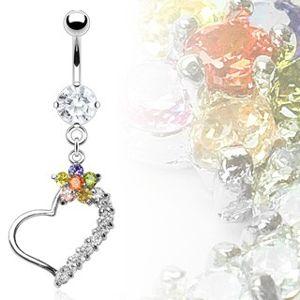 Luksusowy kolczyk do brzucha serce z kolorowym kwiatem