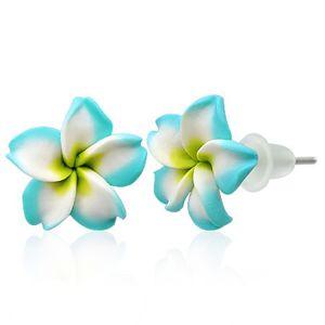 Małe kolczyki Fimo - turkusowo - biały kwiatek