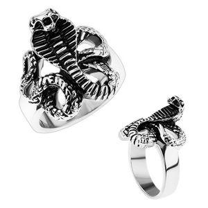 Masywny stalowy pierścionek, lśniące ramiona, patynowany wąż - kobra - Rozmiar : 66