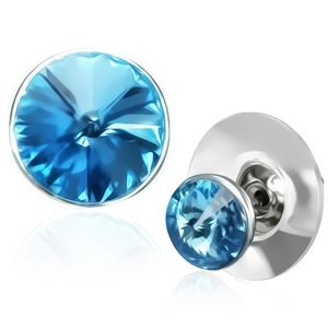 Miedziane kolczyki - niebieski kryształ Swarovski v srebrnej ramce