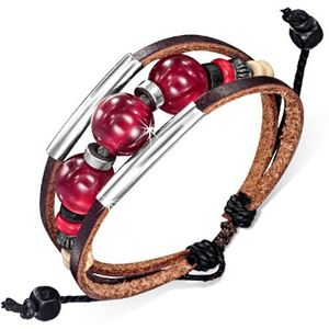 Multi bransoletka - dwa czekoladowe pasy skóry, sznurek, rurki, bordowe kulki