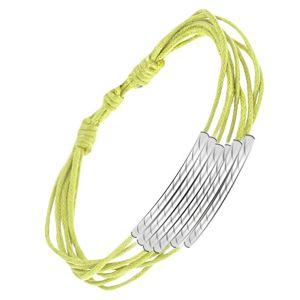 Multi bransoletka, neonowe sznureczki, stalowe podłużne wstawki z rowkami