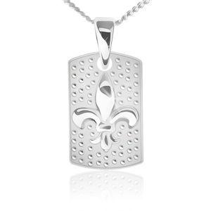 Naszyjnik - łańcuszek i prostokątna płytka, Fleur de Lis, srebro 925
