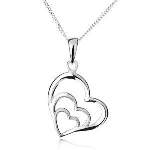 Naszyjnik - łańcuszek i trzy asymetryczne zarysy serc, srebro 925