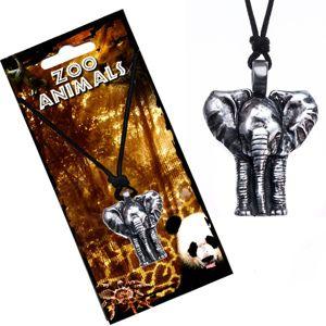 Naszyjnik na sznurku, patynowany wisiorek słoń