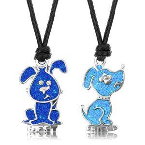 Naszyjnik sznurkowy, ciemnoniebieski i jasnoniebieski piesek, emalia, napis BEST FRIEND
