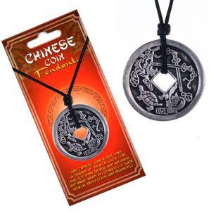 Naszyjnik sznurkowy, patynowana moneta chińska, żółw i miecze