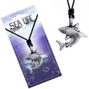 Naszyjnik z metalową zawieszką - rekin z wygiętą płetwą