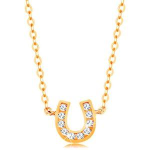Naszyjnik z żółtego 14K złota - subtelny łańcuszek, błyszcząca podkowa na szczęście