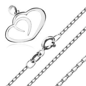 Naszyjnik ze srebra 925 - kontury dwóch serc na łańcuszku z podłużnych ogniw