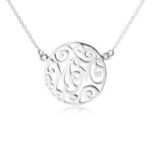 Naszyjnik ze srebra 925 - łańcuszek i kółeczko z wycięciami, Mom