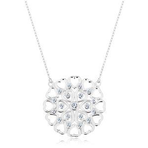 Naszyjnik ze srebra 925, duży okrągły ornament z serduszek i cyrkonii