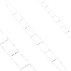 Naszyjnik ze srebra 925, dwa łańcuszki połączone prostymi pałeczkami