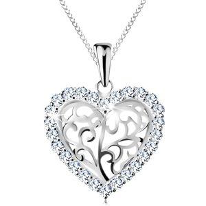 Naszyjnik ze srebra 925, serduszko z ornamentów w bezbarwnej cyrkoniowej oprawie