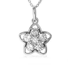 Naszyjnik ze srebra 925, srebrny zarys kwiatu, kwiat z przezroczystych cyrkonii