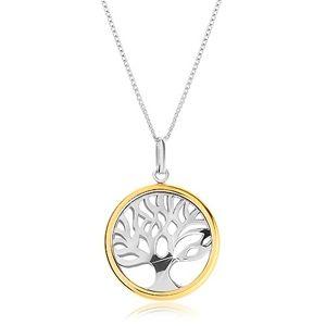 Naszyjnik ze srebra 925 z dwukolorową zawieszką - lśniące drzewo życia w kółku